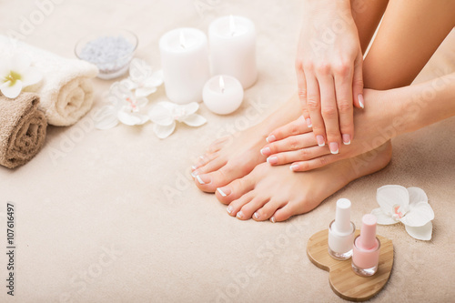 Foto op Plexiglas Manicure French manicure and pedicure