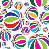 Fototapety Abstract geometric striped balls seamless pattern. Summer holiday background