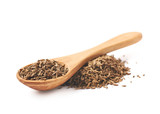 Wooden spoon over the pile of cumin - 107620669