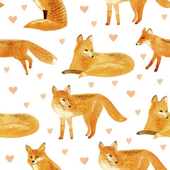Fox and heart seamless pattern.Watercolor hand drawn illustration.White background.