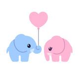 Fototapety Cute cartoon elephant couple