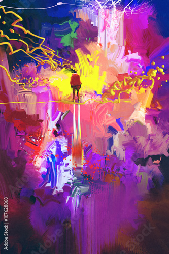man standing in abstract colorful place,illustration painting плакат
