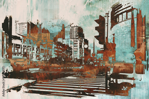 Obraz w ramie urban cityscape with abstract grunge,illustration painting