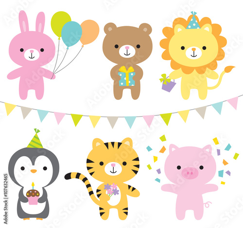 mata magnetyczna Vector illustration of animals including rabbit, bear, lion, penguin, tiger, and pig at party.