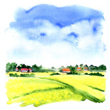 Village landscape with green field and country houses, watercolor illustration