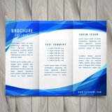 wave style blue trifold brochure vector design