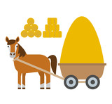 horse with cart haystack in flat style isolated on white background