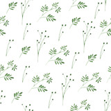 Floral seamless pattern.Green flowers.Watercolor illustration