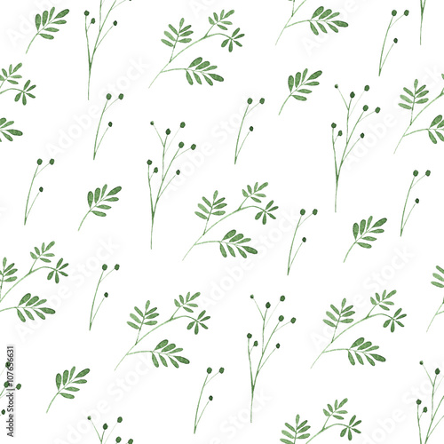 Floral seamless pattern.Green flowers.Watercolor illustration - 107656631