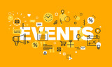 Thin line flat design banner for EVENTS web page, calendar, planning, marketing. Modern vector illustration concept of word EVENTS for website and mobile website banners.