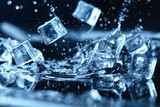 ice cubes with water splash - 107679413