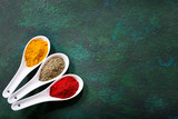 various spices in a ceramic spoons