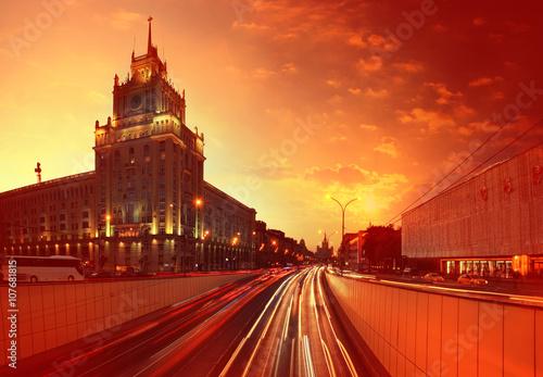 Sunset cityscape Moscow Mayakovskaya