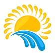 Leinwanddruck Bild sun Logo in the sea.