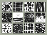 Fototapety Set of creative freehand cards. Hand Drawn textures made with ink