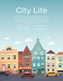 Fototapety City Life. Urban walk. Flayer. City information service. City Ba