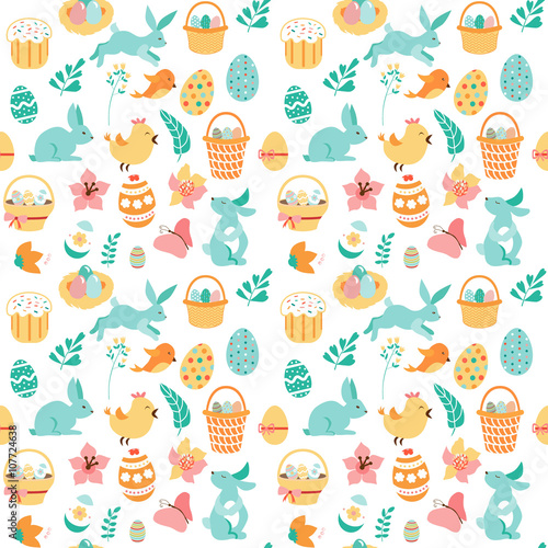 Cotton fabric drawing seamless Easter ornament.