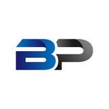 Modern SImple Initial Logo Vector Blue Grey bp