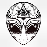 Fototapety Alien face icon vector illustration.