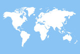 White blank world map.