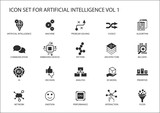 Vector icon set for artificial intelligence (AI) concept. Various symbols for the topic using flat design