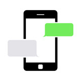 Vector black text messaging icon. Text Messaging Icon Object, Text Messaging Icon Picture, Text Messaging Icon Image - stock vector
