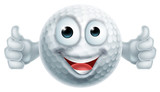 Cartoon Golf Ball Thumbs Up  Man Character