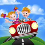 Cartoon Kids Driving Car