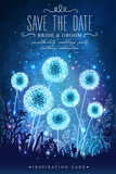 Amazing dandelions with magical lights of fireflies at night sky background. Inspiration card for wedding, date, birthday, holiday or garden party. Save the Date