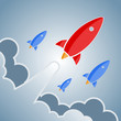 Постер, плакат: Big red and smaller blue rockets Vector retro design elements