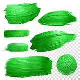 Fototapety Green watercolor brush strokes. Vector oil paint smear. Polish trace.
