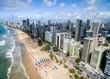Quadro Aerial view of Boa Viagem beach in Recife, Pernambuco, Brazil