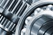 ball-bearings in close-ups, steel engineering parts