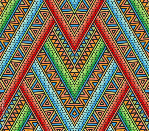 Cotton fabric Bright ethnic seamless pattern with geometric ornament