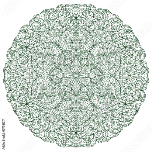 Round Mandala pattern with hand-drawn decorative elements. - 107761217