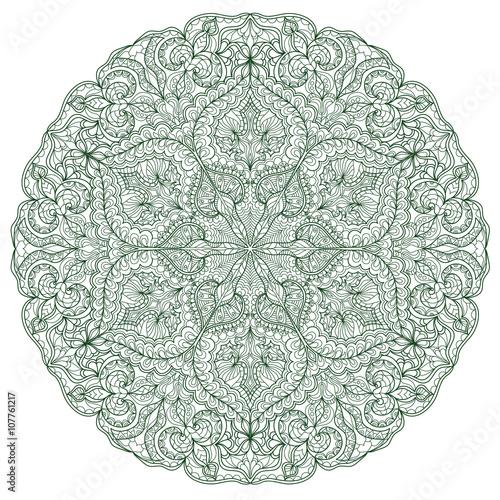Round Mandala pattern with hand-drawn decorative elements. - 107761217