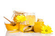 Obrazy na płótnie, fototapety, zdjęcia, fotoobrazy drukowane : The bank of honey with honeycombs, glass bowl with honey and woo