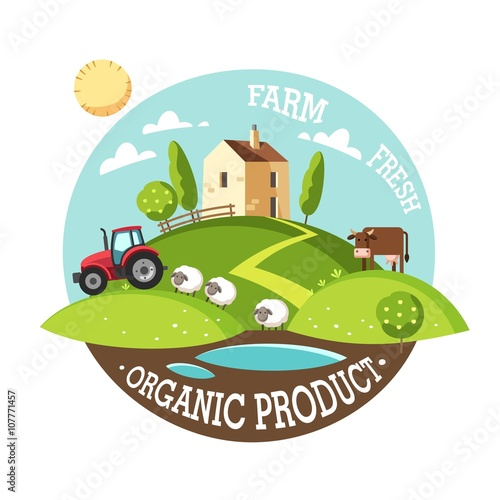 Aluminium Boerderij Organic product. Farm fresh. Summer rural landscape. Vector illustration concept.