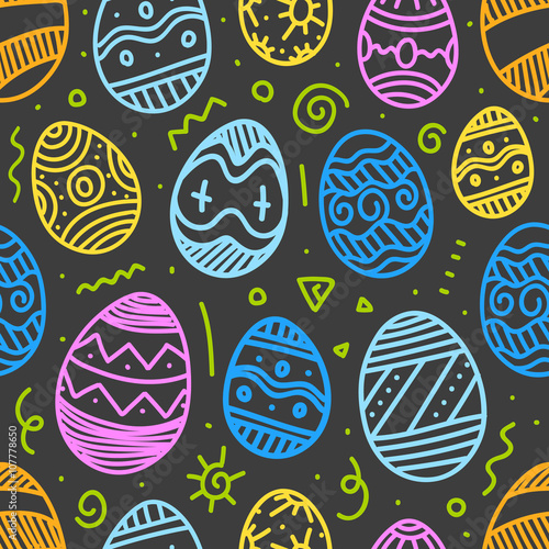 Cotton fabric Easter eggs vector seamless pattern