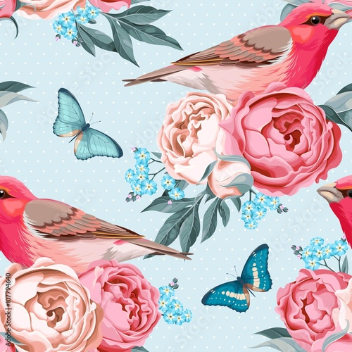 Cotton fabric Birds and flowers seamless