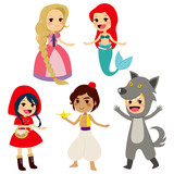 Set of fairy tale characters of popular children books