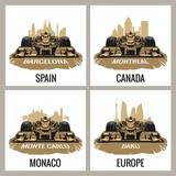 Set vintage poster Grand Prix. Barcelona, Spain, Montreal, Canada, Monte Carlo, Monaco, Baku, Europe, Vector for poster, web