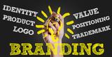 Hand writing the text: Branding