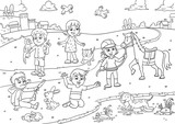 Fototapety child and pet in the park cartoon for coloring