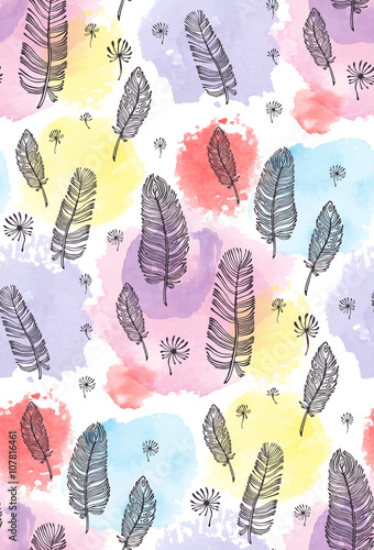Cotton fabric print, seamless pattern with feather, watercolor spots on a white background. Vector illustration