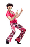 1970s vintage man with pink dress dance isolated on white - 107823400