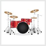 Vector Illustration Drum Set Red