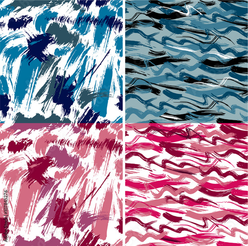 Keuken foto achterwand Vrouw gezicht Set of seamless pattern with blots and ink splashes. Abstract ba