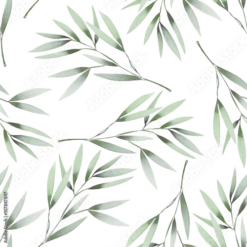 Seamless floral pattern with the watercolor green leaves on the branches, hand drawn on a white background - 107847847