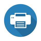 Flat white Printer web icon with long drop shadow on blue circle
